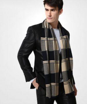 Kvalitný pánsky šál z vlny a bavlny ( 180 x 30 cm ) - Vzor 17