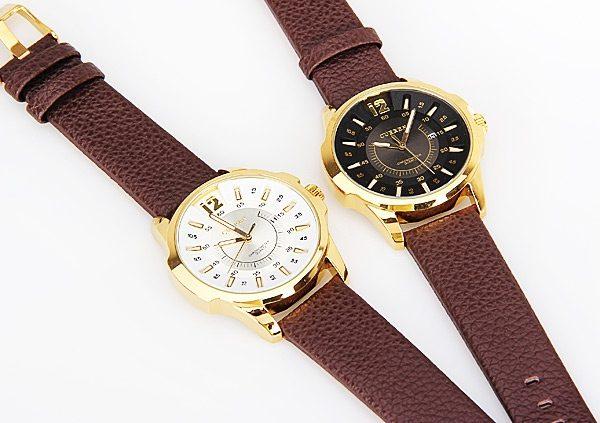 Štýlové ručičkové pánske hodinky s koženým remienkom - zlato-biele