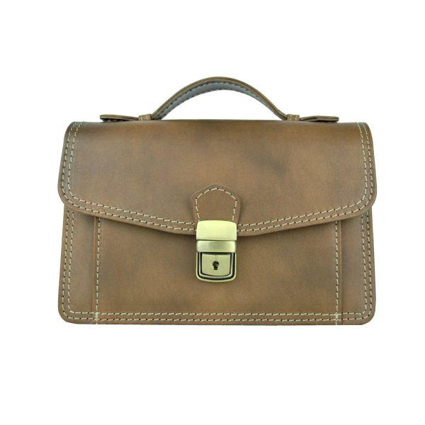 Luxusná kožená etuja, viacúčelové púzdro, ručne tamponovaná, svetlo hnedá (2)