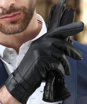 Luxusné kožené pánske rukavice s výstelkou z flisu