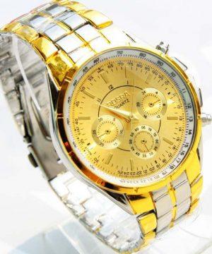 Kvalitné analógové pánske hodinky z chirurgickej ocele - zlato-strieborné
