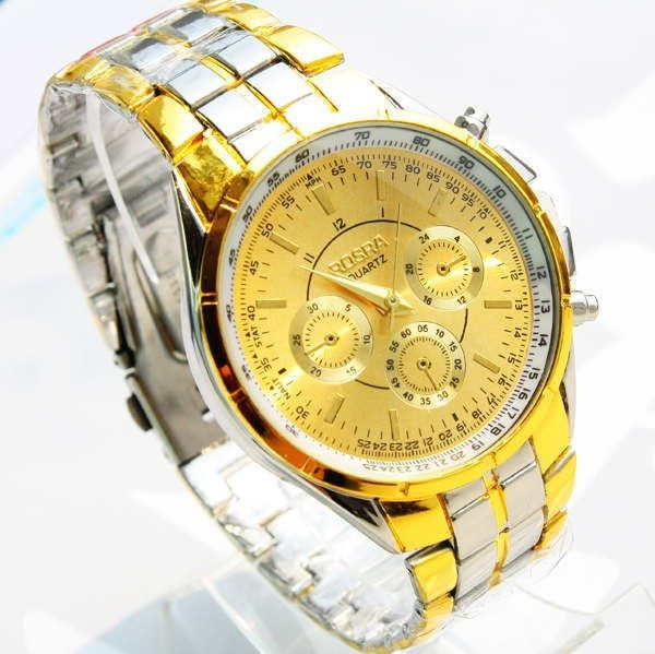5a0e0b7eb32 Kvalitné analógové pánske hodinky z chirurgickej ocele - zlato-strieborné