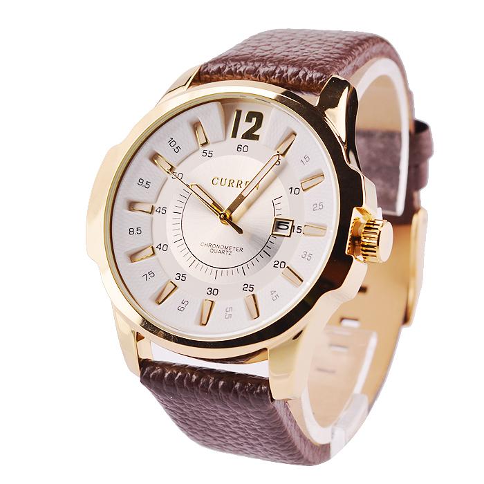 94239e3de Štýlové ručičkové pánske hodinky s koženým remienkom - zlato-biele