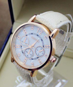 Kvalitné analógové pánske hodinky značky Geneva - béžová farba