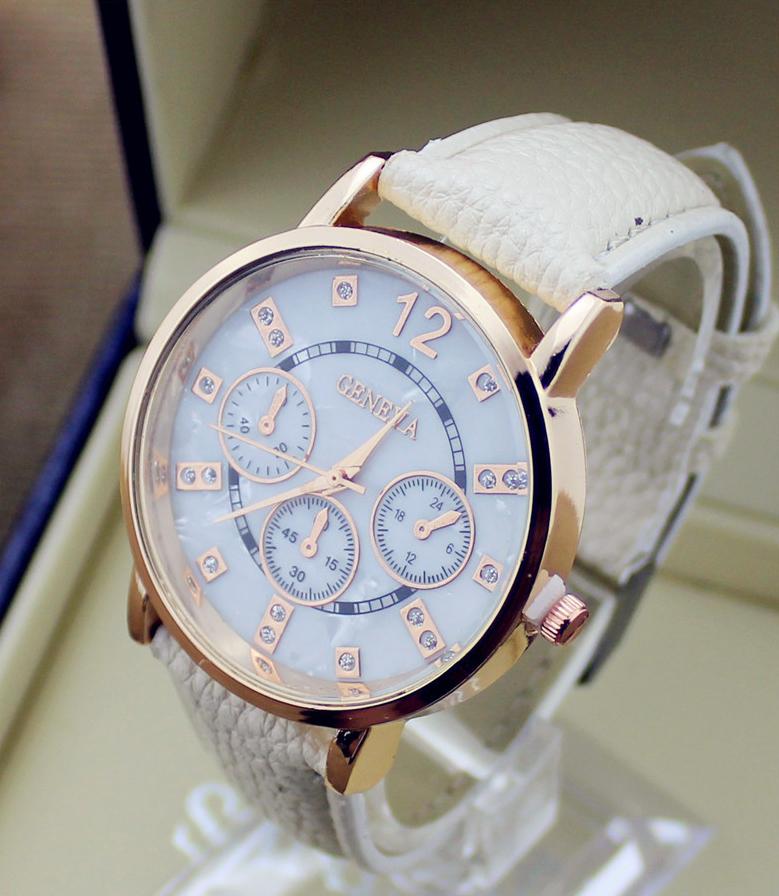 8368674e8 Kvalitné analógové pánske hodinky značky Geneva - béžová farba