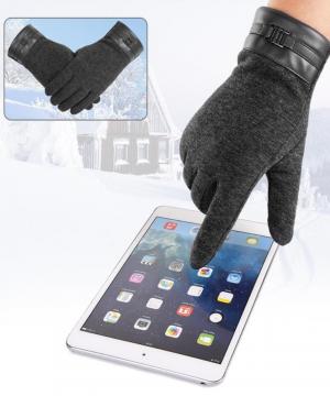 Luxusné pánske rukavice s možnosťou ovládať mobilný telefón - čierne