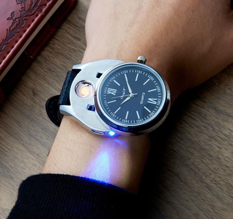 Luxusné ručičkové pánske hodinky so zapaľovačom - čierny remienok da779e3972a