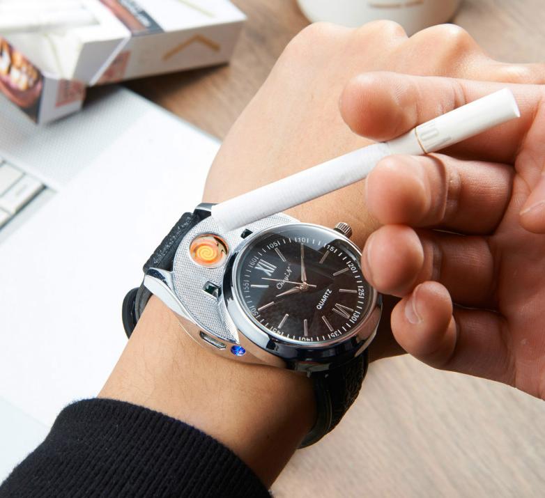 Luxusné ručičkové pánske hodinky so zapaľovačom - čierny remienok 87ecc21d6c1