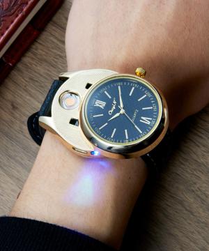 Luxusné ručičkové pánske hodinky so zapaľovačom - čierny remienok