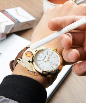 d82094f74 Luxusné ručičkové pánske hodinky so zapaľovačom - hnedý remienok