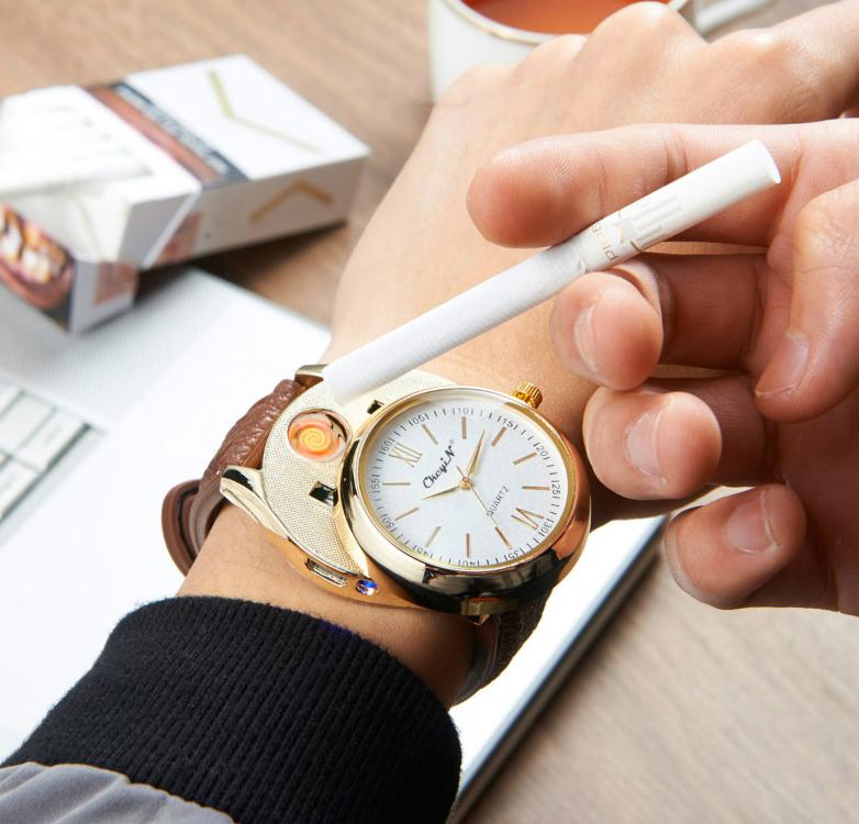 Luxusné ručičkové pánske hodinky so zapaľovačom - hnedý remienok e0a15bc462a