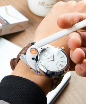 Luxusné ručičkové pánske hodinky so zapaľovačom - hnedý remienok