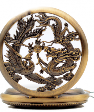 Luxusné vreckové pánske hodinky s drakom a fénixom v troch farbách