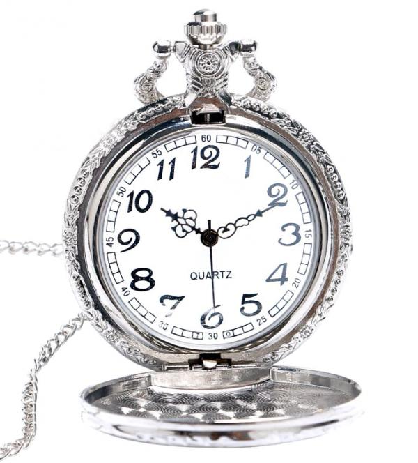 Luxusné vreckové pánske hodinky s vlakom v striebornej farbe
