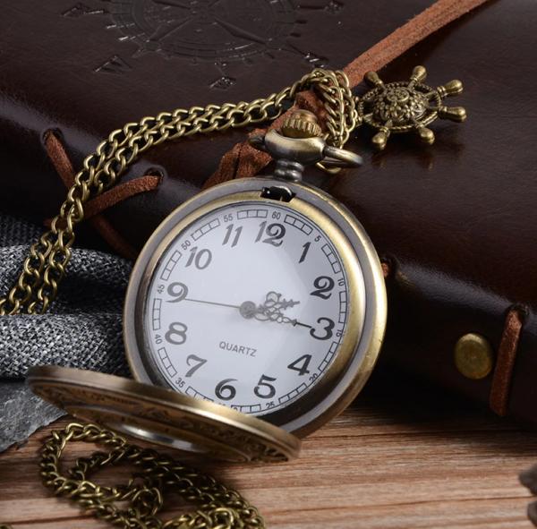 Luxusné vreckové pánske hodinky v bronzovej farbe s retro ciferníkom
