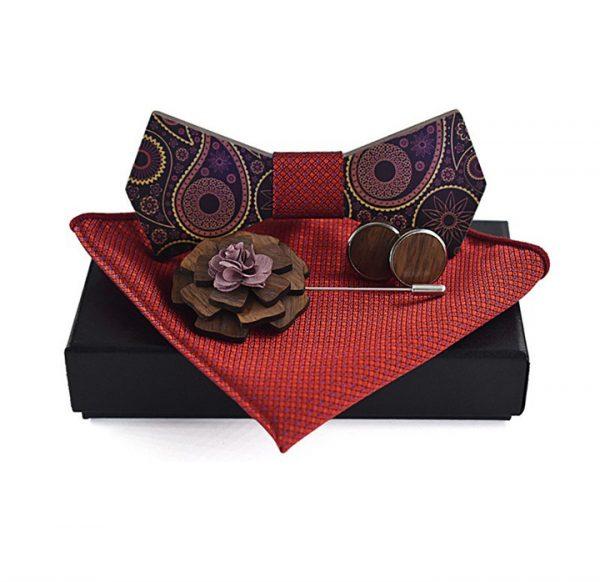 Motýlik z dreva s ľudovým motívom - motýlik+vreckovka+manžety+brošňa