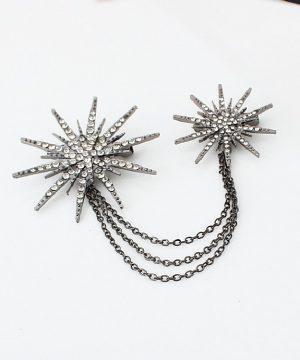 Prepracovaná brošňa pre pánov v tvare hviezd s kryštálikmi