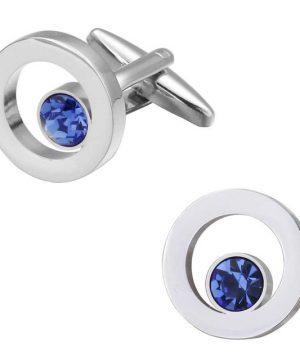 Elegantné manžetové gombíky v tvare kruhu s malým modrým kryštálom