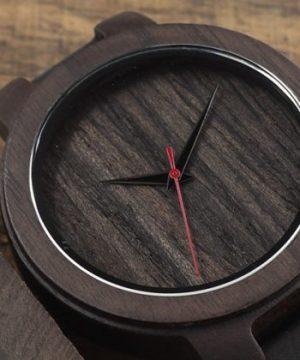 Luxusné drevené pánske hodinky z tmavého dreva s koženým remienkom
