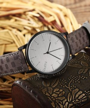 Luxusné analógové pánske hodinky s koženým remienkom - sivé