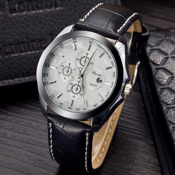 Luxusné analógové pánske hodinky s koženým remienkom - biele