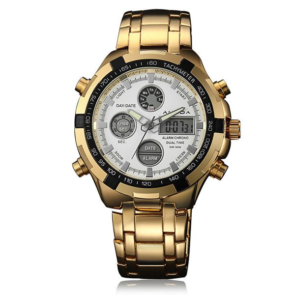 Prepracované pánske hodinky z chirurgickej ocele v zlatej farbe