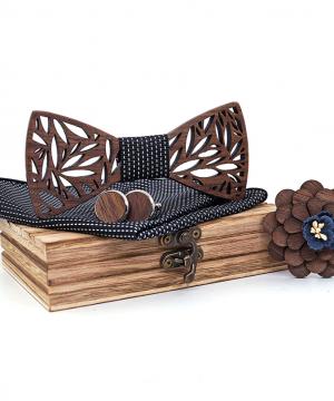 Viac-farebný drevený set - drevený motýlik+vreckovkViac-farebný drevený set - drevený motýlik+vreckovka+manžety+brošňaa+manžety+brošňa