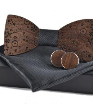 Luxusný set - drevený motýlik+vreckovka+manžety vo viacerých farbách