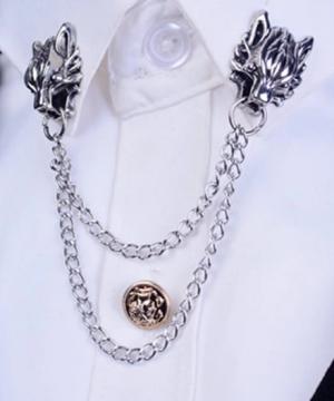 Prepracovaná pánska brošňa na šaty - golierová spona s hlavami tigrov