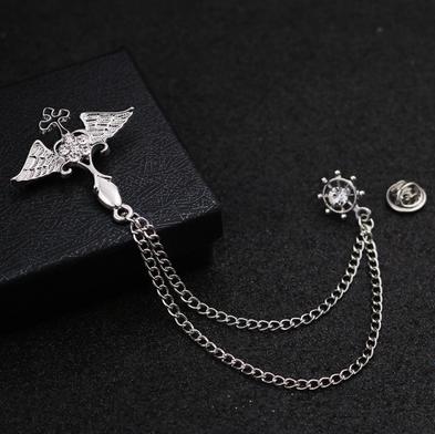 Prepracovaná pánska brošňa na šaty - strieborné armádne krídla