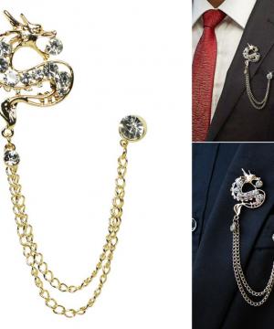 Prepracovaná pánska brošňa na šaty - strieborný drak s kryštálmi