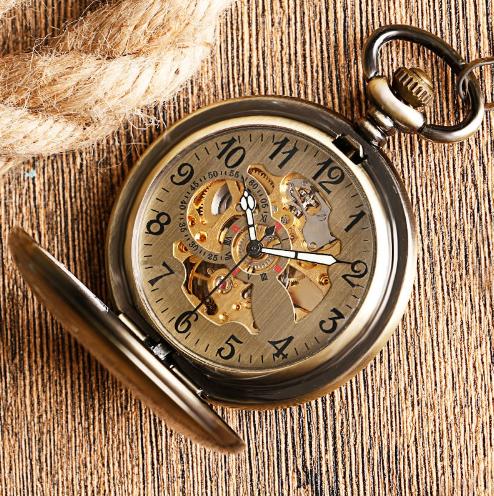 Prepracované pánske vreckové hodinky v luxusnom bronzovom prevedení