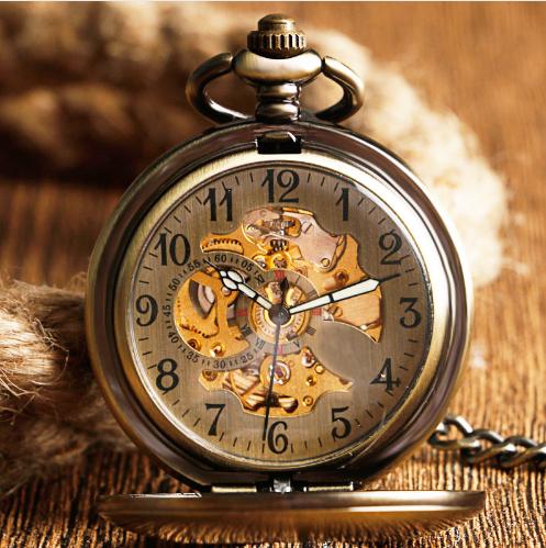 Prepracované pánske vreckové hodinky v luxusnom bronzovom prevedení 888bf1f1e9b