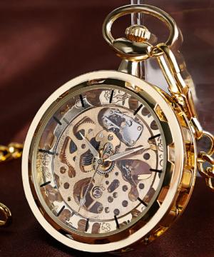 Prepracované pánske vreckové hodinky v luxusnom zlatom prevedení