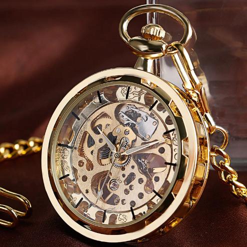 Prepracované pánske vreckové hodinky v luxusnom zlatom prevedení 1ad292135fa