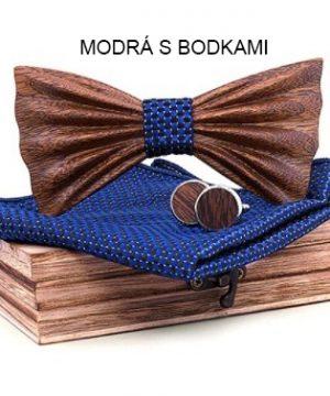 Prepracovaný motýlikový set - drevený motýlik + vreckovka