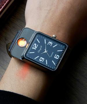 Retro analógové pánske hodinky so zapaľovačom v troch farbách