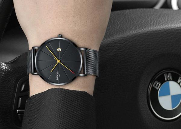 Ultra-tenké dizajnové pánske hodinky s remienkom z milánskej ocele