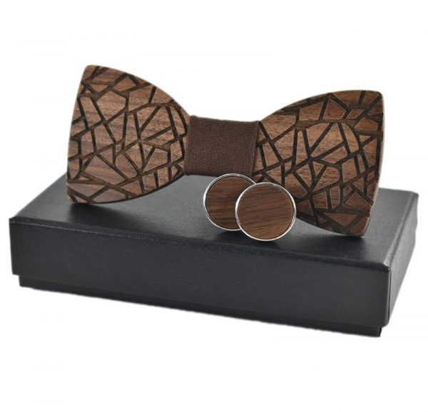 Pánsky set - drevený motýlik + manžety vo viacerých farbách