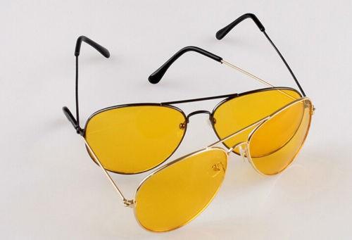 Špeciálne pánske okuliare na jazdu v noci - pilotky s čiernym rámom
