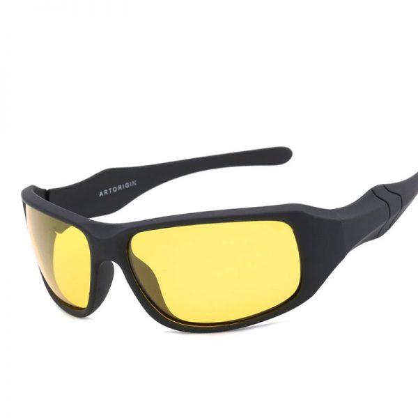 Športové polarizované pánske okuliare na nočnú jazdu - čierny matný rám