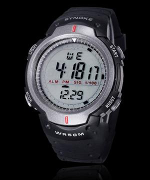 Športové vodotesné pánske digitálne hodinky v sivej farbe