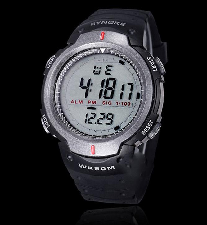 Športové vodotesné pánske digitálne hodinky v sivej farbe 8af62f6a51