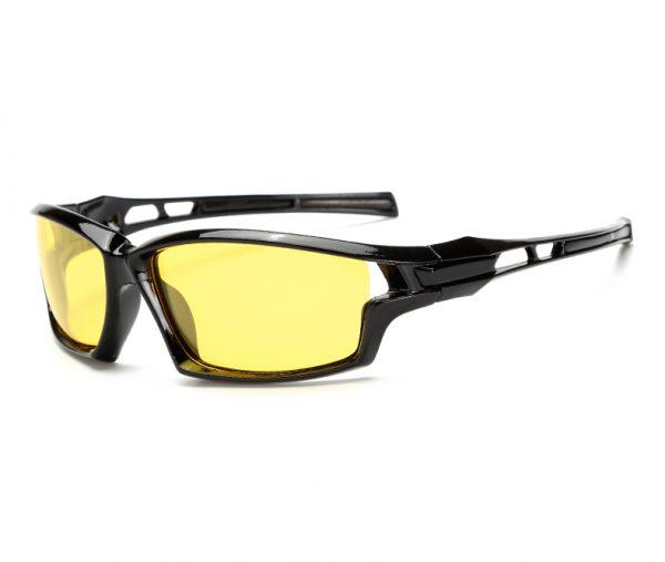Štýlové pánske polarizované okuliare pre šoférov na nočnú jazdu v čiernej farbe