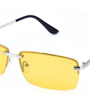 Štýlové polarizované pánske okuliare na nočnú jazdu so strieborným rámikom