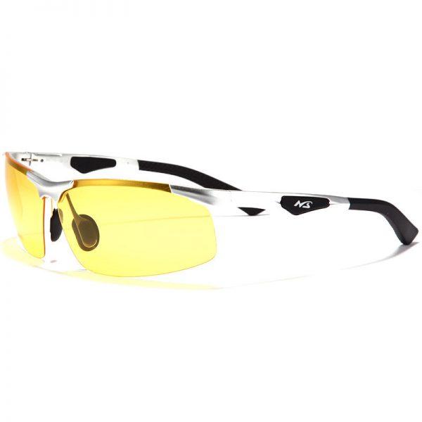 Pánske okuliare pre šoférov na jazdu v noci so strieborným rámikom