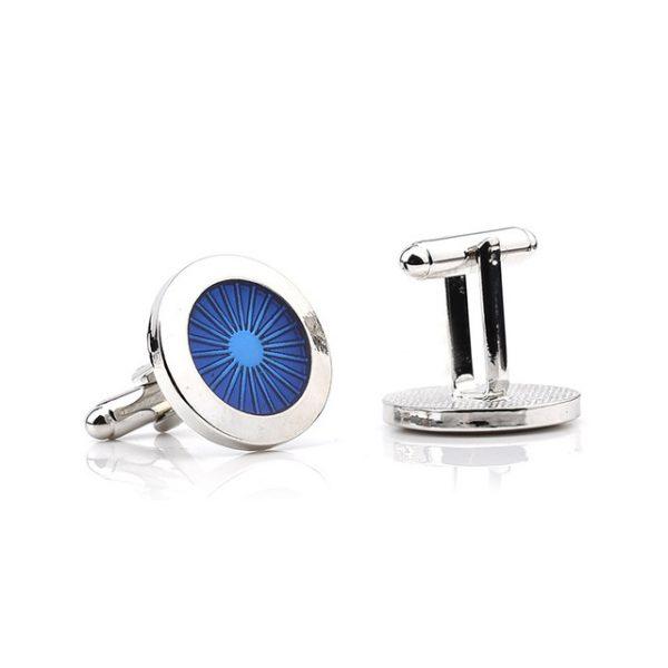 Decentné manžetové gombíky, manžety v striebornej a modrej farbe