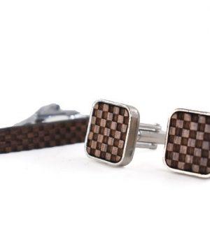 Drevený set - drevené manžetové gombíky a drevená spona na kravatu