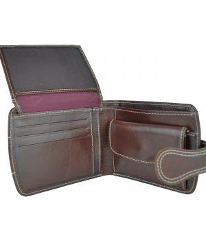 Elegantná kožená peňaženka č.8467 v tmavo hnedej farbe (3)