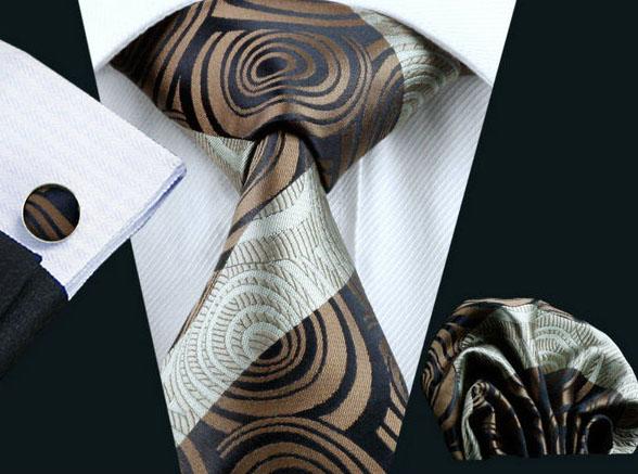Elegantný kravatový set - kravata + manžety + vreckovka, vzor 12